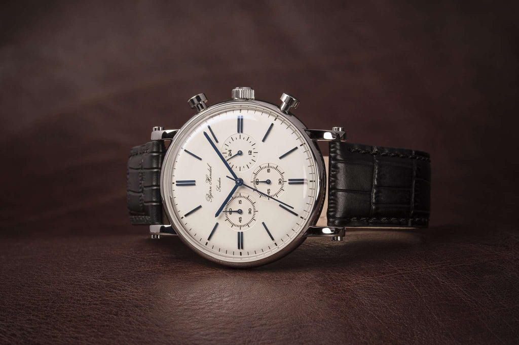 "Björn Hendal Chronograph Steel  ""Varberg""  - Stainless Steel Case, White Dial, Blue Indices & Hands - TERTIUS COLLECTION"