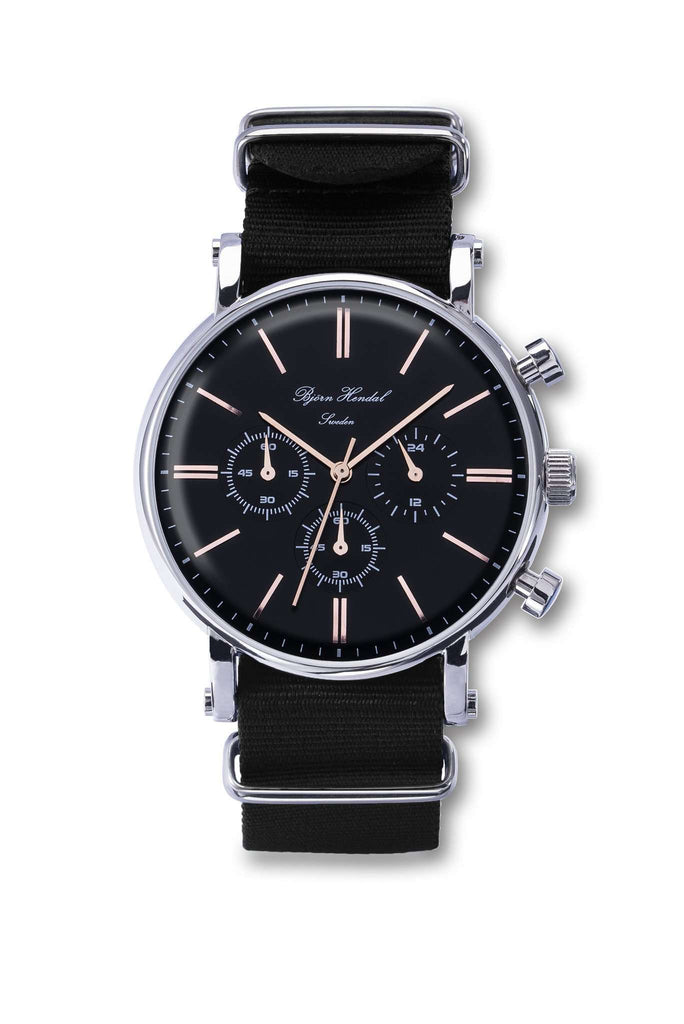 "Björn Hendal Chronograph Steel ""Varberg"" Black NATO - TERTIUS COLLECTION"