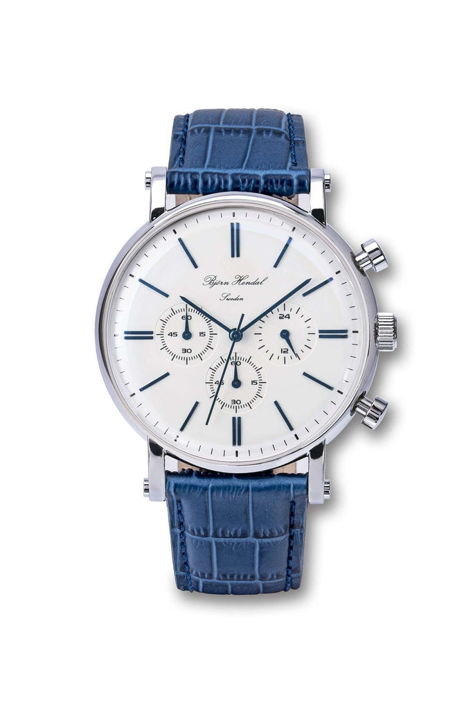 "Björn Hendal Chronograph Steel  ""Varberg""  Blue Croco - TERTIUS COLLECTION"