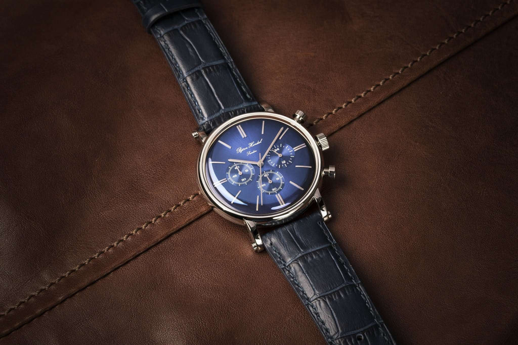 "Björn Hendal Chronograph ""Varberg"" - Stainless Steel Caase, Indigo Blue Dial, Steel Indices & Hands - TERTIUS COLLECTION"