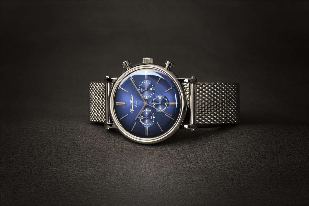 "Björn Hendal Chronograph Steel ""Varberg"" Indigo Blue Dial Milanese - TERTIUS COLLECTION"