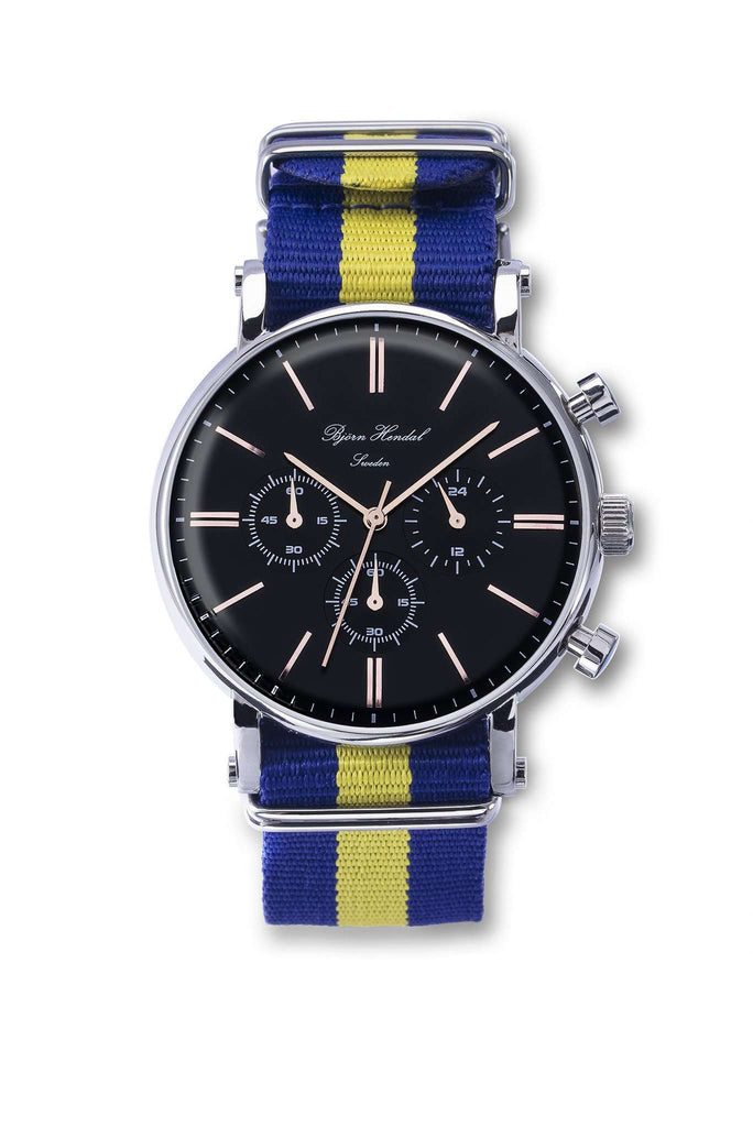 "Björn Hendal Chronograph Steel ""Varberg"" Nato ""Swedish Flag"" - TERTIUS COLLECTION"