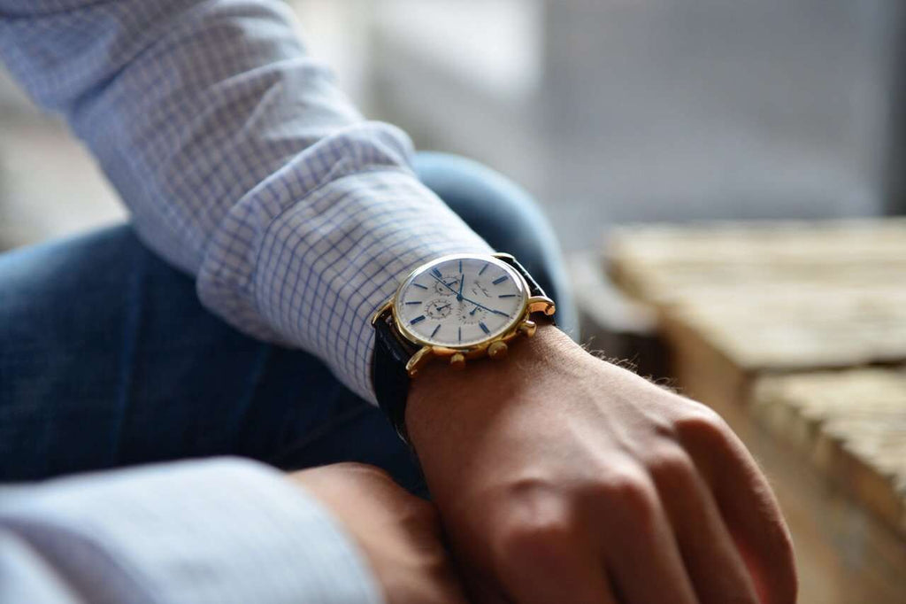"Björn Hendal Chronograph ""Varberg"" - White Dial, Yellow Gold-Plated Case, Blue Indices & Hands - TERTIUS COLLECTION"