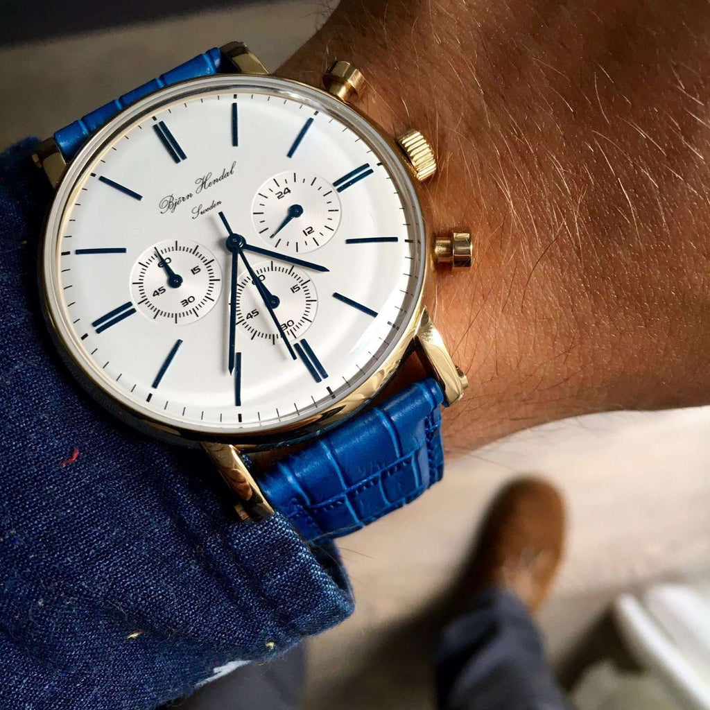 "Björn Hendal Chronograph ""Varberg"" Blue Croco - TERTIUS COLLECTION"
