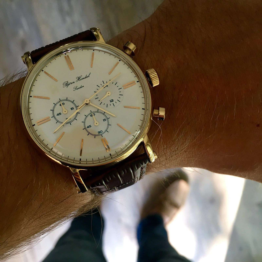 "Björn Hendal Chronograph ""Varberg"" - White Dial, Yellow Gold-Plated Case, Gold-Plated Indices & Hands - TERTIUS COLLECTION"
