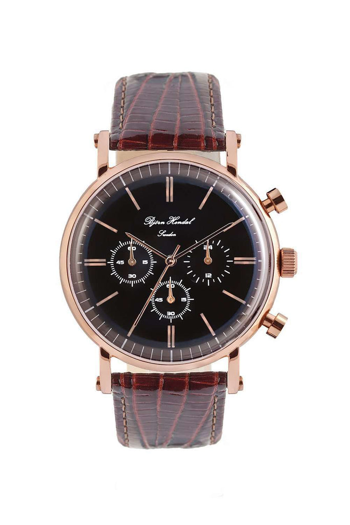 "Björn Hendal Chronograph ""Varberg"" - Black Dial, Rose Gold Case, Rose Gold Indices & Hands - TERTIUS COLLECTION"