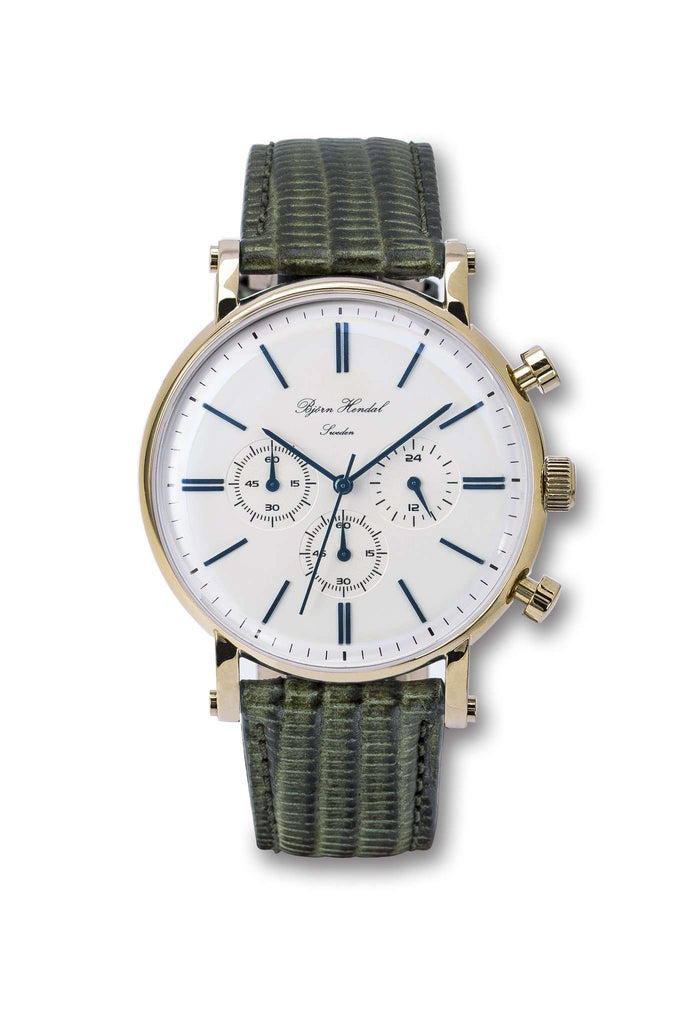 "Björn Hendal Chronograph ""Varberg"" Green Lizard - TERTIUS COLLECTION"