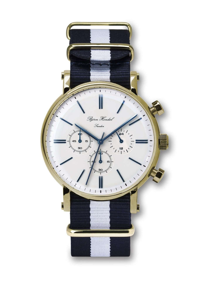 "Björn Hendal Chronograph ""Varberg"" NATO Navy Blue White - TERTIUS COLLECTION"