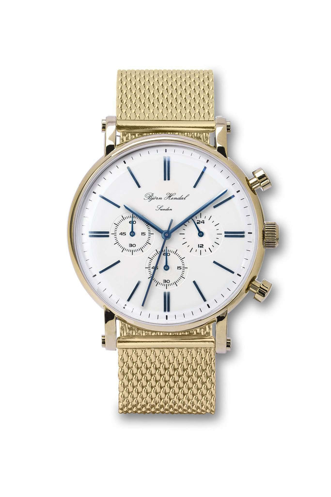 "Björn Hendal Chronograph White ""Varberg"" Gold Milanese - TERTIUS COLLECTION"
