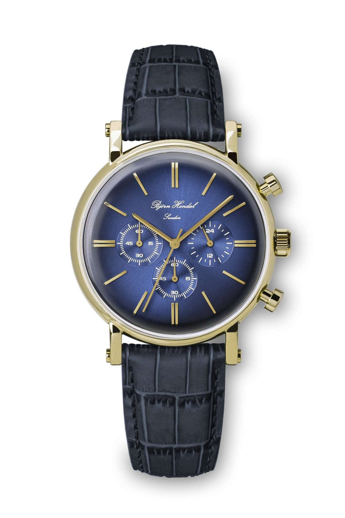 "Björn Hendal Chronograph Yellow Gold ""Varberg"" Indigo Blue Dial - TERTIUS COLLECTION"