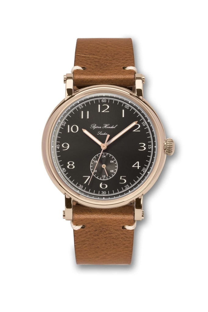 Björn Hendal Varberg Flytande 24 Rose Gold Black Dial Vintage Leather Strap - TERTIUS COLLECTION