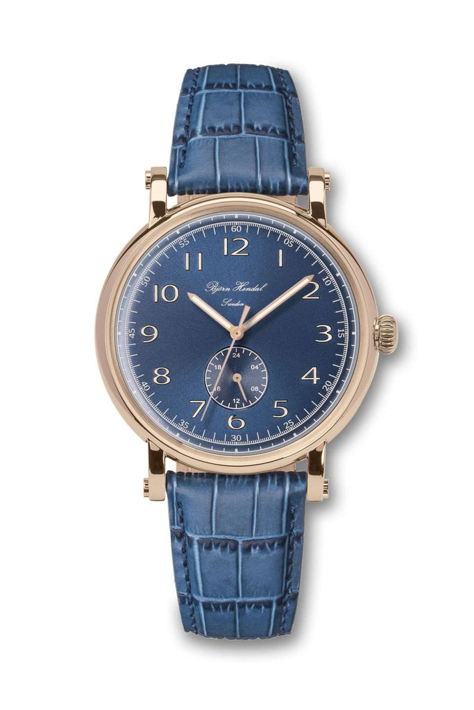 Björn Hendal Varberg Flytande 24 Rose Gold Navy Dial Blue Croco - TERTIUS COLLECTION