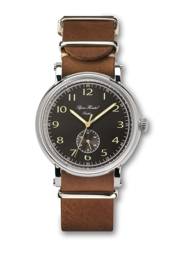 Björn Hendal Varberg Flytande 24 Stainless Steel Black Dial Brown Leather NATO - TERTIUS COLLECTION