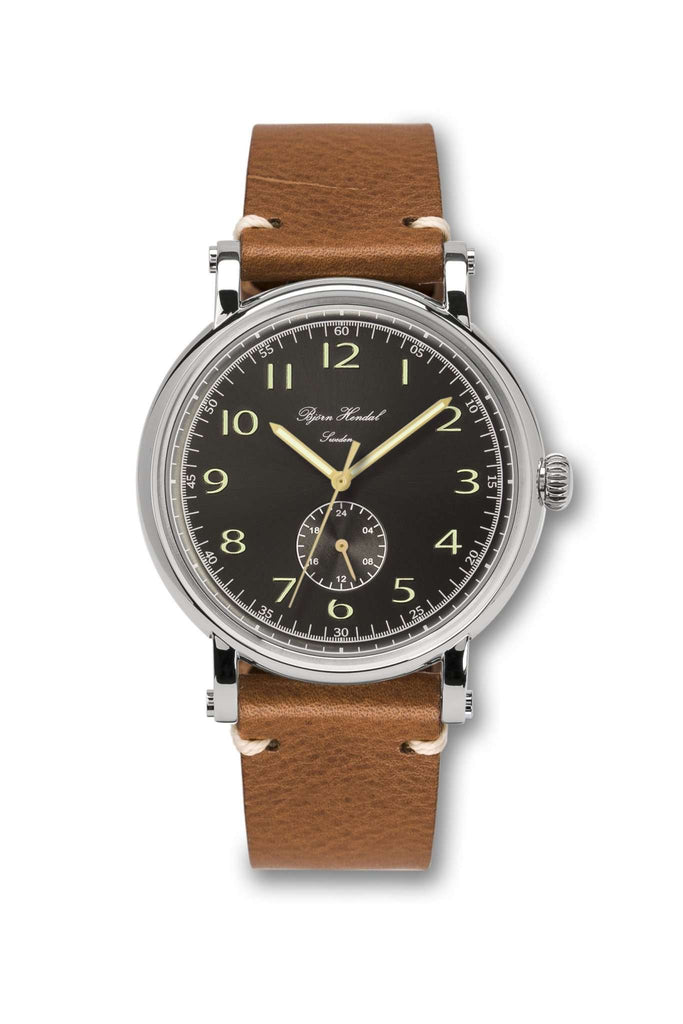 Björn Hendal Varberg Flytande 24 Stainless Steel Black Dial Vintage Leather Strap - TERTIUS COLLECTION