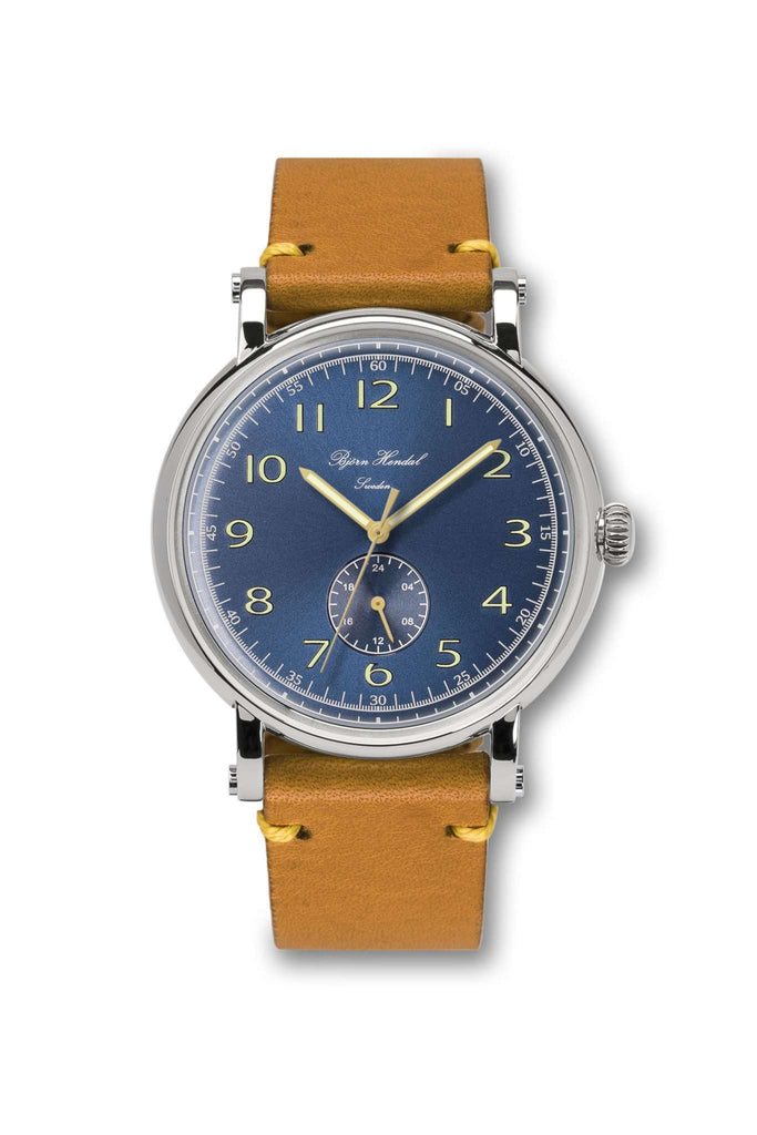 Björn Hendal Varberg Flytande 24 Stainless Steel Blue Dial Yellow Vintage Leather - TERTIUS COLLECTION
