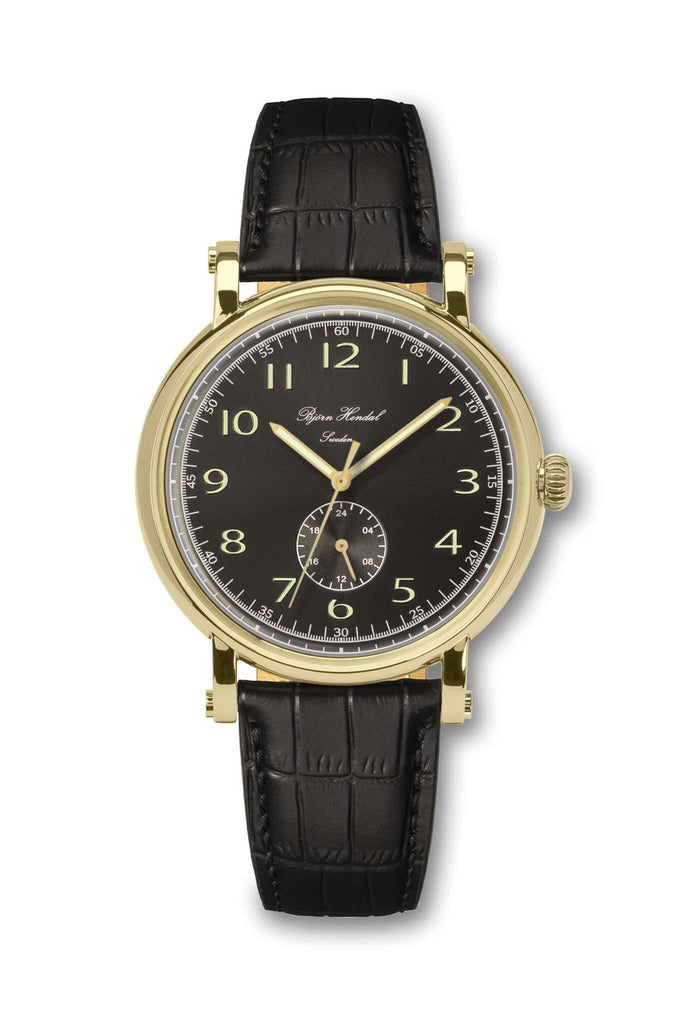 Björn Hendal Varberg Flytande 24 Yellow Gold Black Dial Black Croco - TERTIUS COLLECTION