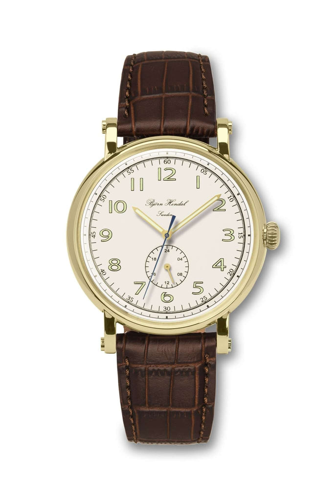 Björn Hendal Varberg Flytande 24 Yellow Gold White Dial Brown Croco - TERTIUS COLLECTION
