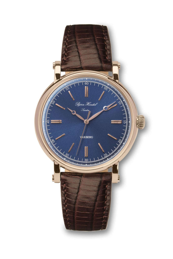 Björn Hendal Varberg Flytande Rose Gold Navy Dial Brown Lizard - TERTIUS COLLECTION