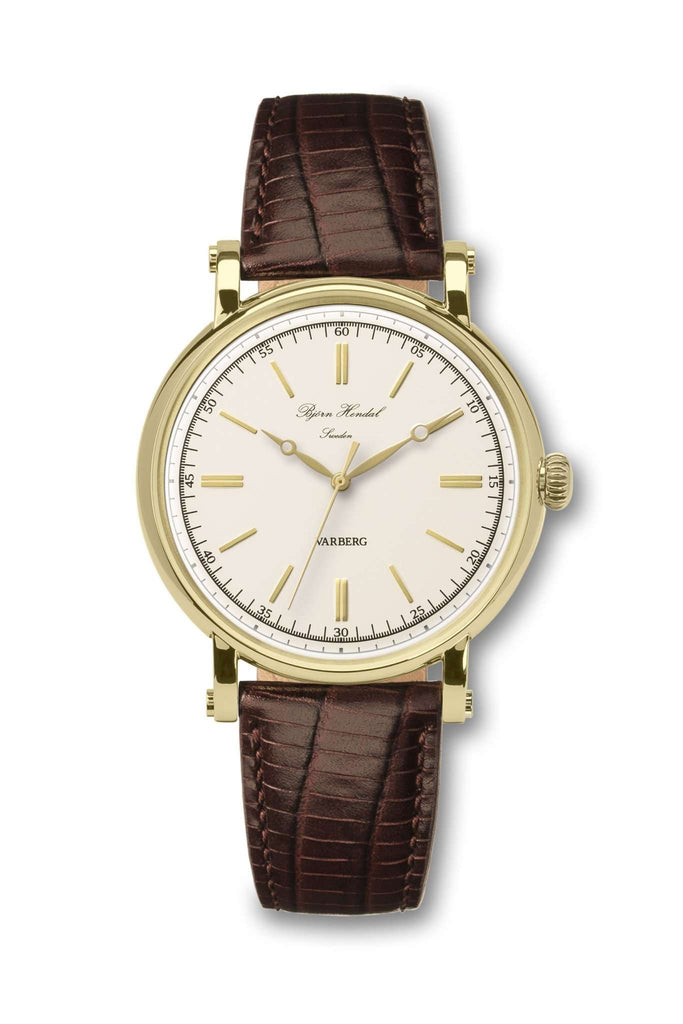 Björn Hendal Varberg Flytande Yellow Gold White Dial Yellow Brown Lizard - TERTIUS COLLECTION