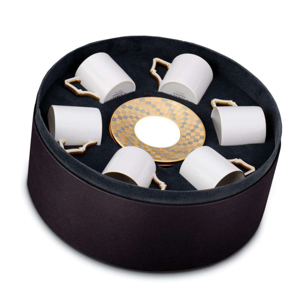 Byzanteum Espresso Cup & Saucer - Tri-Color - Set of 6 in a Round Gift Box - TERTIUS COLLECTION