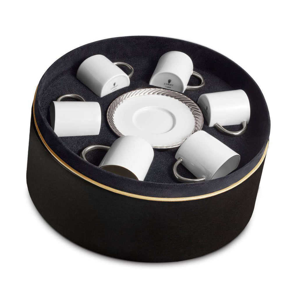 Corde Espresso Cup & Saucer - Platinum - Set of 6 in a Round Gift Box - TERTIUS COLLECTION