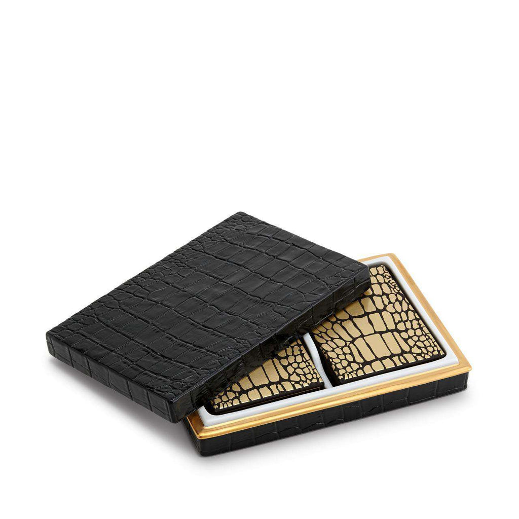 Crocodile Box with Playing Cards - Gold - TERTIUS COLLECTION