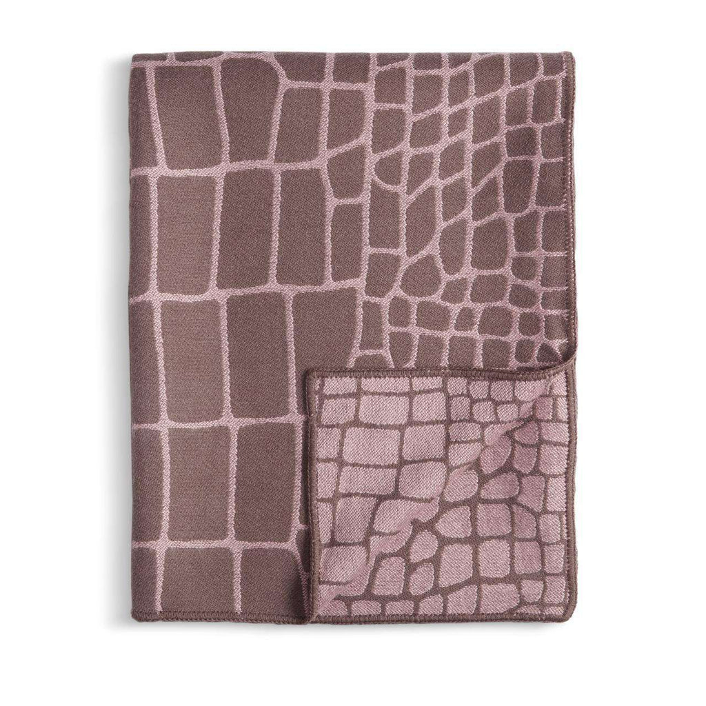 Crocodile Jacquard Throw - Mauve & Taupe - TERTIUS COLLECTION