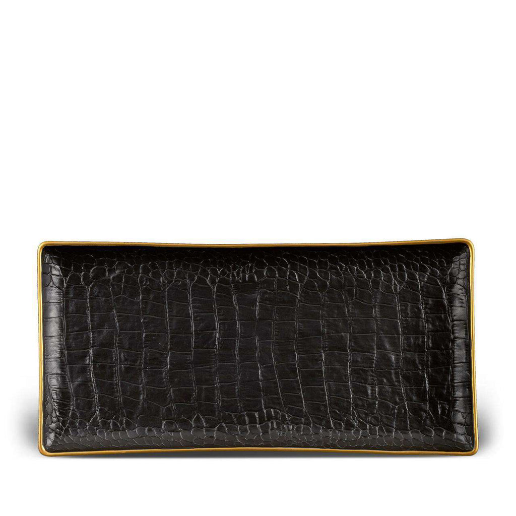 Crocodile Rectangular Tray - Medium - Gold - TERTIUS COLLECTION