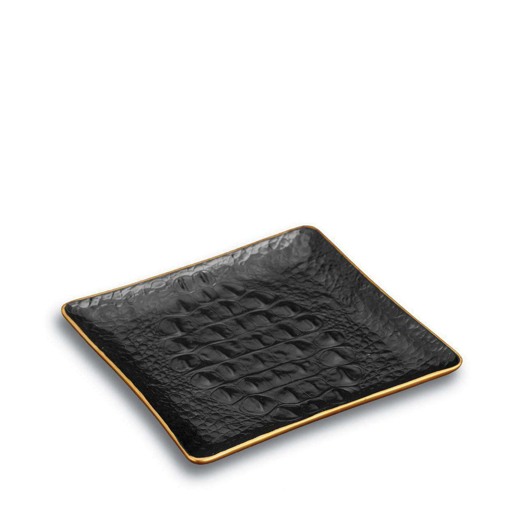 Crocodile Square Tray - Small - Gold - TERTIUS COLLECTION