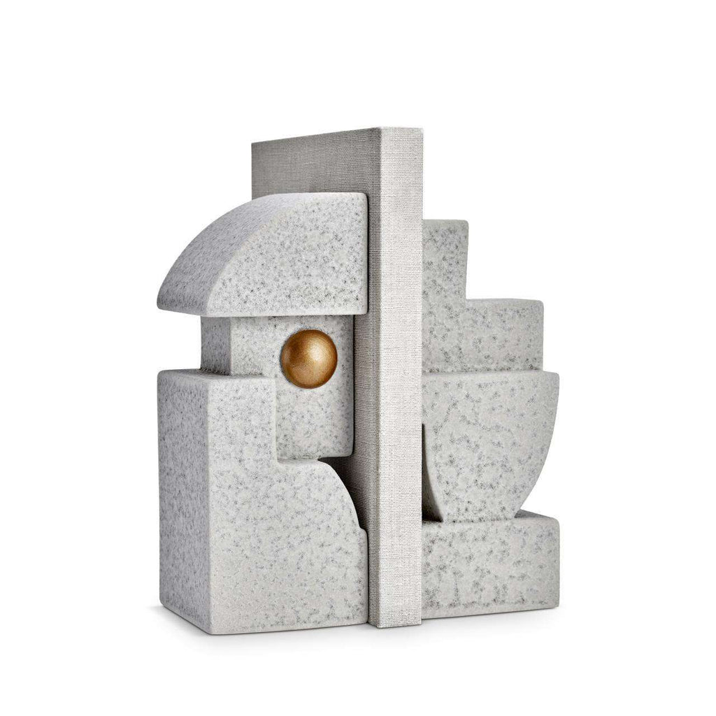 Cubisme One Bookend - Grey & Gold - TERTIUS COLLECTION