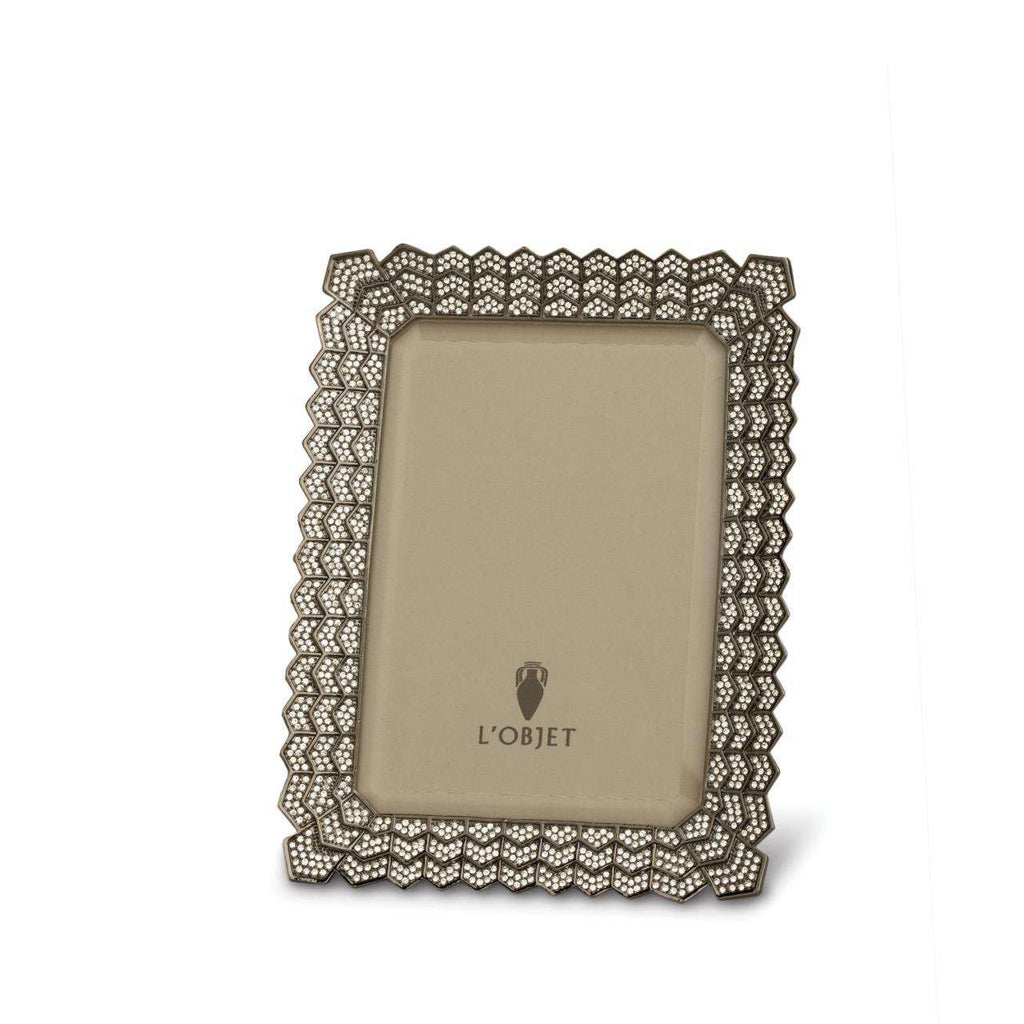 "Deco Noir Frame 4x6"" - Platinum & White Crystals - TERTIUS COLLECTION"