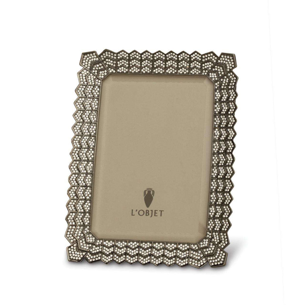 "Deco Noir Frame 5x7"" - Platinum & White Crystals - TERTIUS COLLECTION"