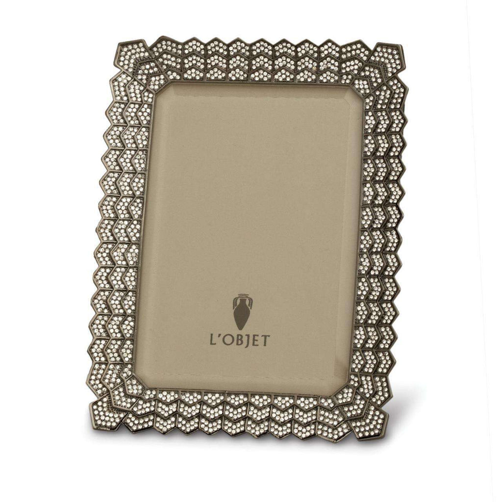 "Deco Noir Frame 8x10"" - Platinum & White Crystals - TERTIUS COLLECTION"
