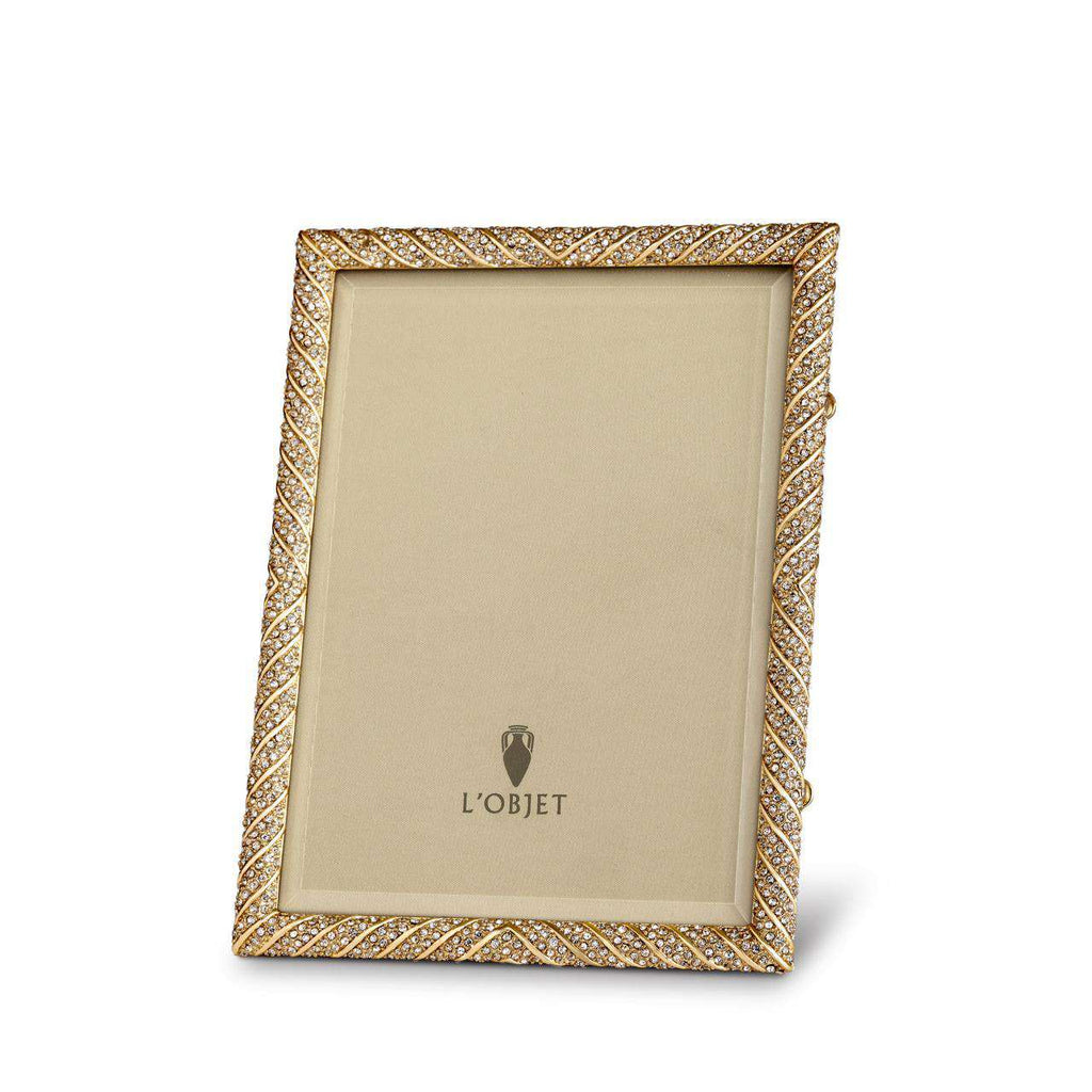 "Deco Twist Frame 4x6"" - Gold & White Crystals - TERTIUS COLLECTION"
