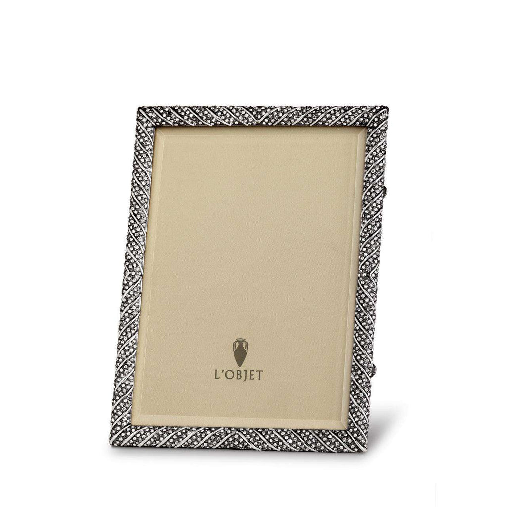 "Deco Twist Frame 4x6"" - Noir & White Crystals - TERTIUS COLLECTION"