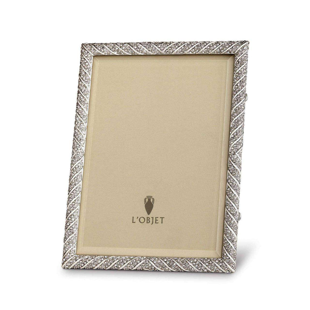 "Deco Twist Frame 5x7"" - Platinum & White Crystals - TERTIUS COLLECTION"
