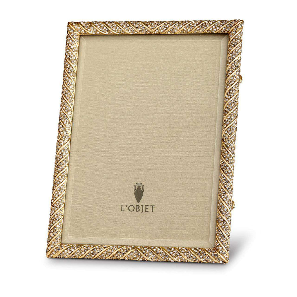 "Deco Twist Frame 8x10"" - Gold & White Crystals - TERTIUS COLLECTION"