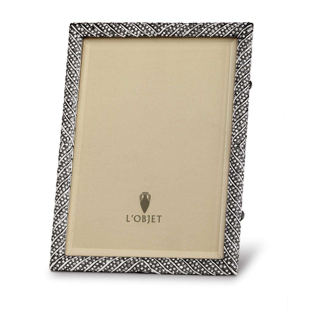 "Deco Twist Frame 8x10"" - Noir & White Crystals - TERTIUS COLLECTION"