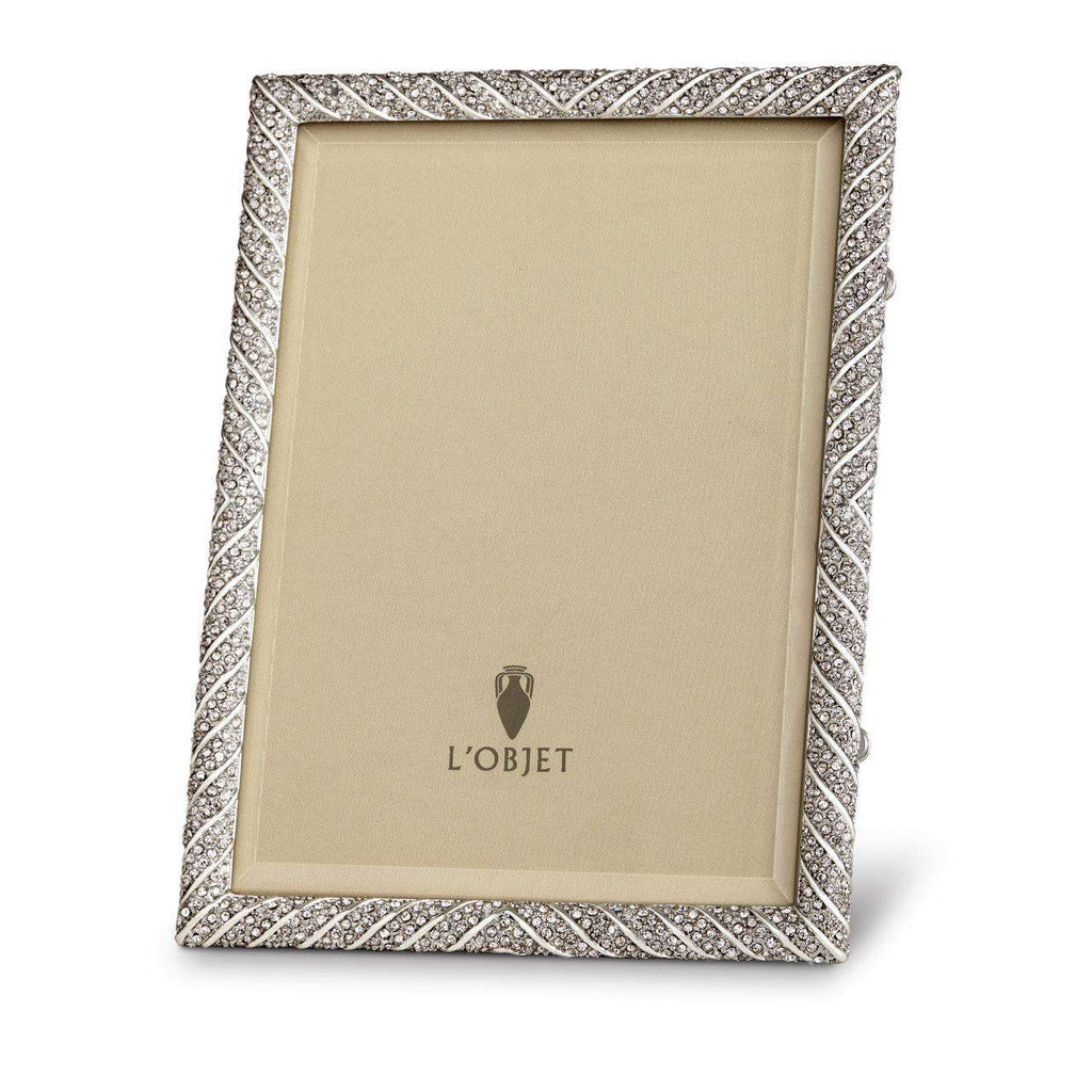 "Deco Twist Frame 8x10"" - Platinum & White Crystals - TERTIUS COLLECTION"
