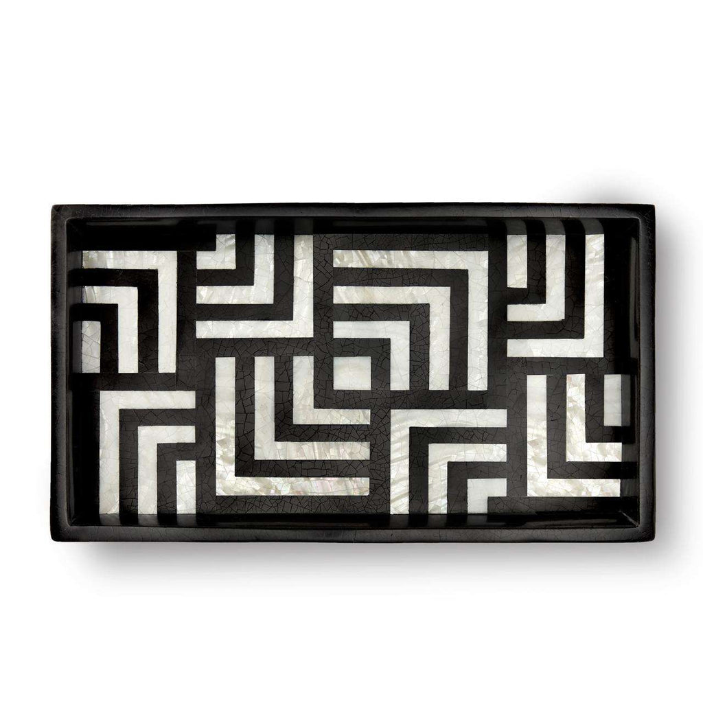 Dédale Rectangular Tray - Black & White Shell - TERTIUS COLLECTION