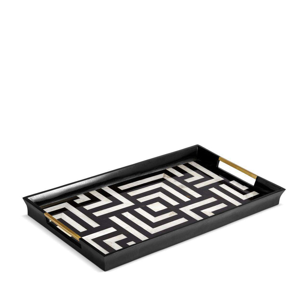 Dédale Rectangular Tray - Large - Black & White - TERTIUS COLLECTION