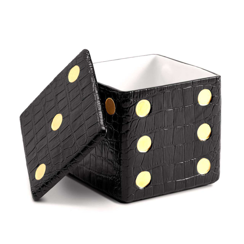 Dice Crocodile Decorative Box - Black - TERTIUS COLLECTION