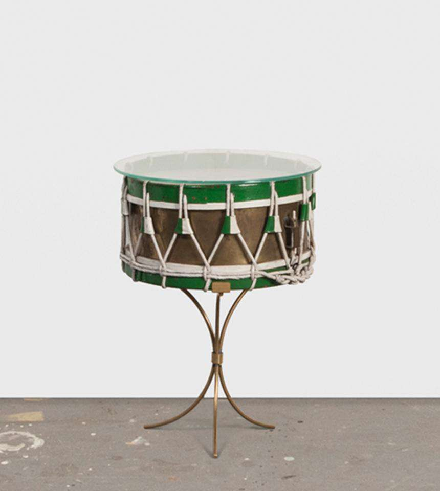 Green & Brass Drum Table - TERTIUS COLLECTION