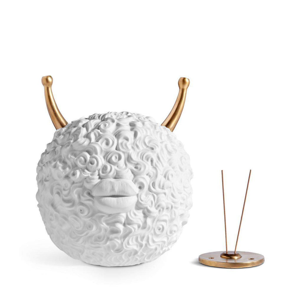 Haas Monster Ball Incense Burner - White & Bronze - TERTIUS COLLECTION