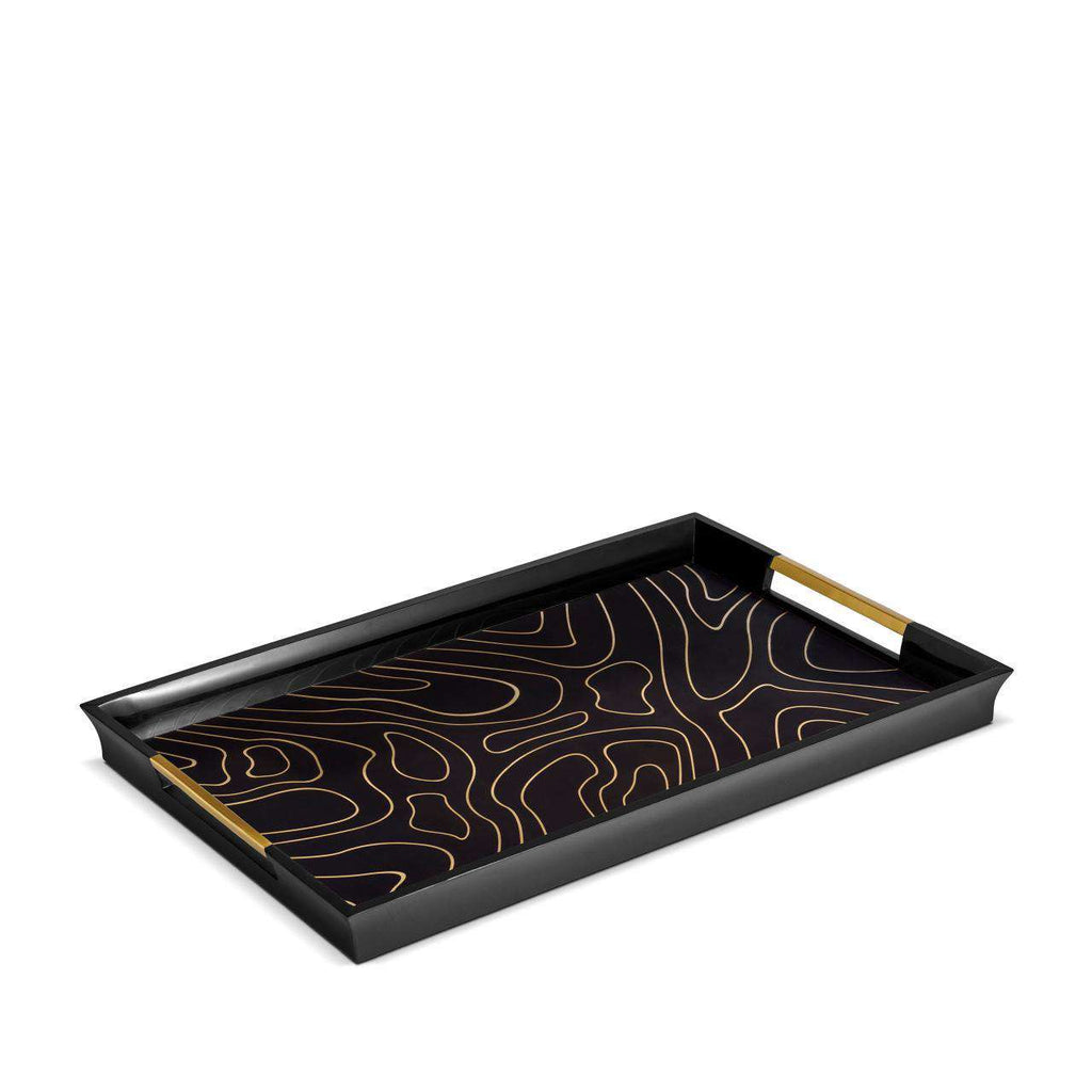 Isles Rectangular Tray - Large - Black & Gold - TERTIUS COLLECTION