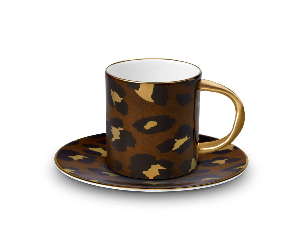 Leopard Espresso Cup + Saucer - TERTIUS COLLECTION
