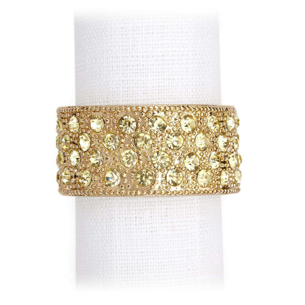 Pave Band Napkin Jewels - Gold & Yellow Crystals - TERTIUS COLLECTION