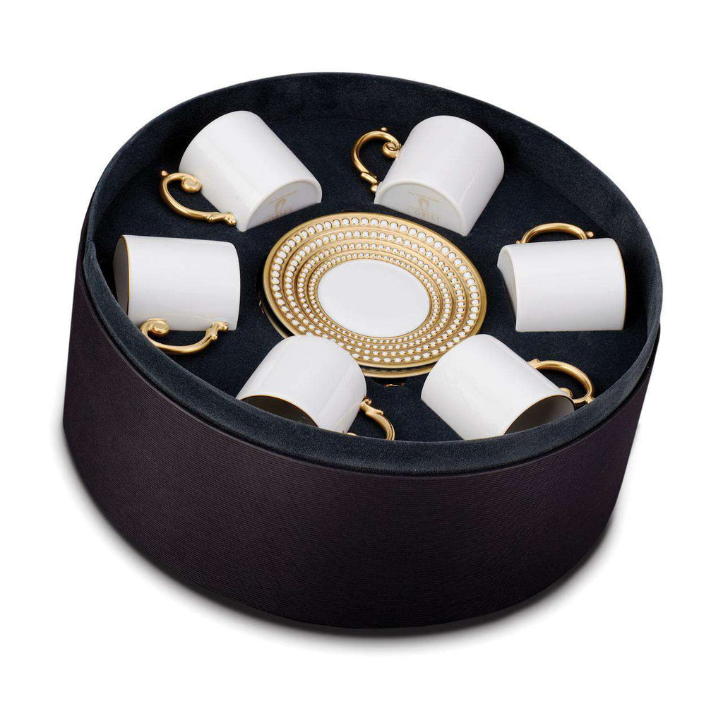 Perlée Espresso Cup & Saucer - Gold - Set of 6 in a Round Gift Box - TERTIUS COLLECTION