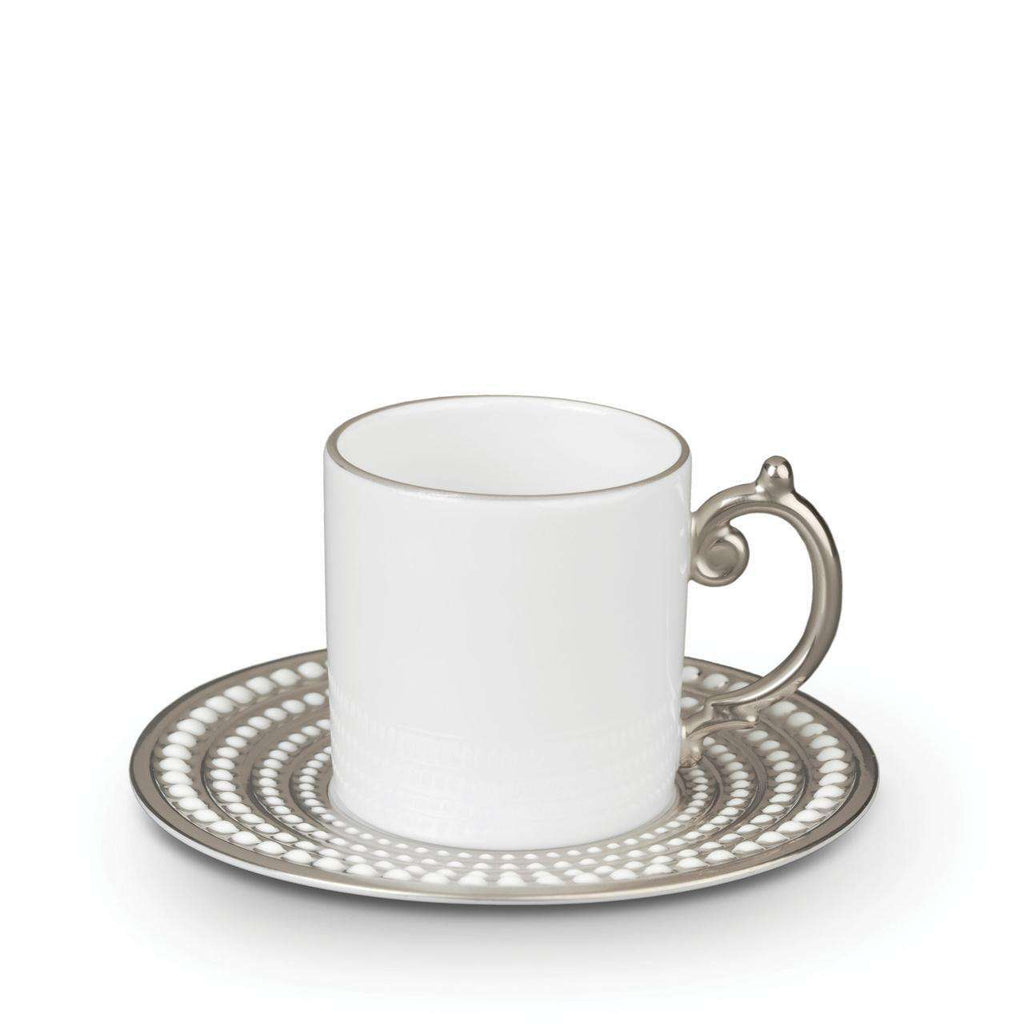 Perlée Espresso Cup & Saucer - Platinum - TERTIUS COLLECTION