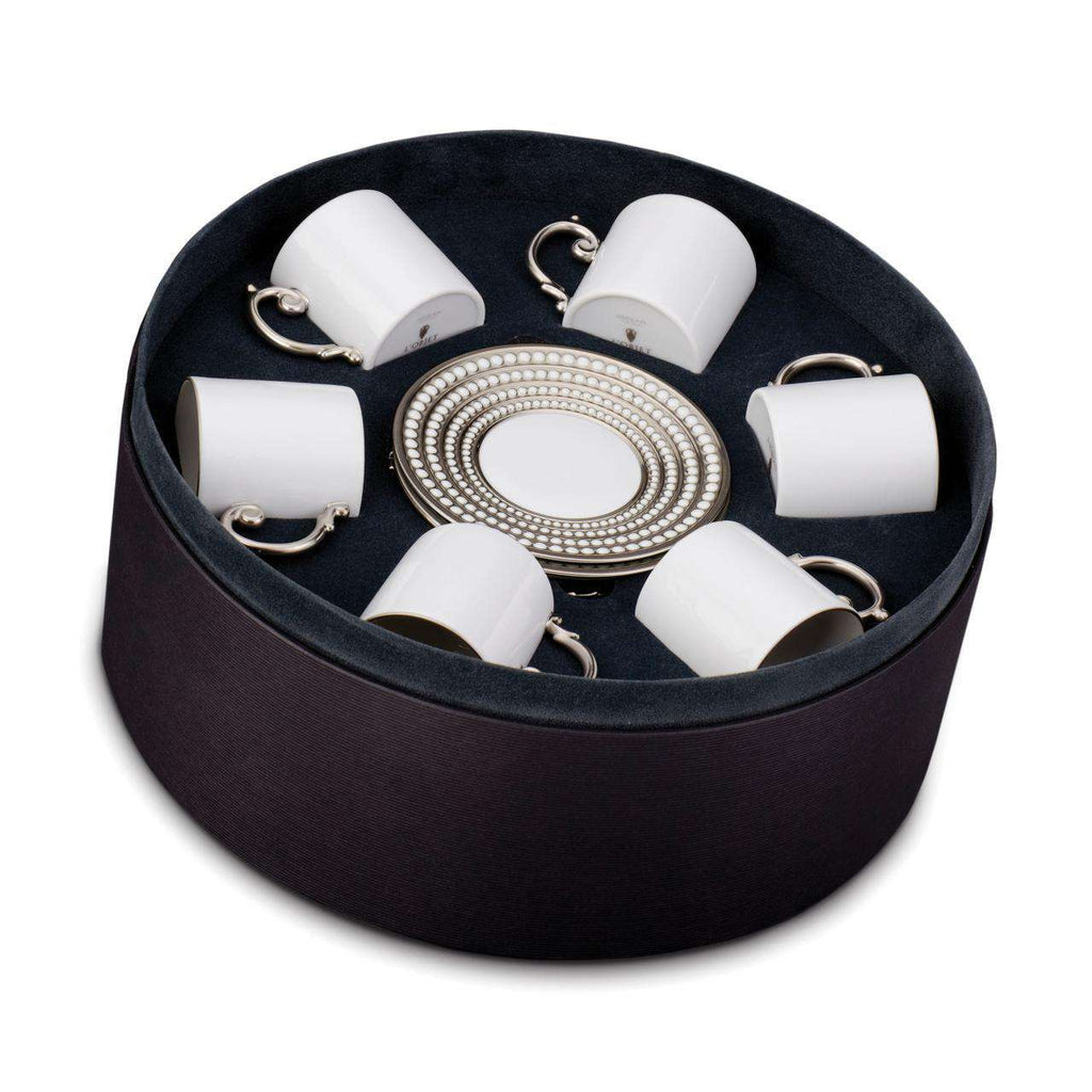 Perlée Espresso Cup & Saucer - Set of 6 in a Round Gift Box - TERTIUS COLLECTION